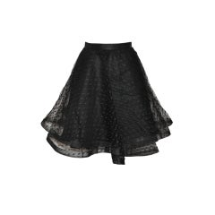 Point d'esprit black five-layered circular skirt