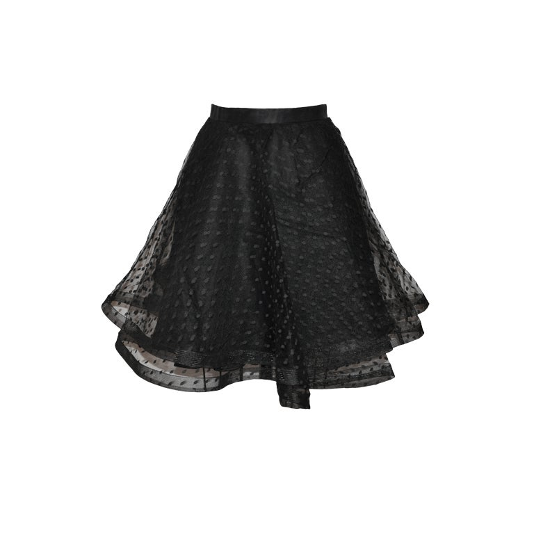 Point d'esprit black five-layered circular skirt