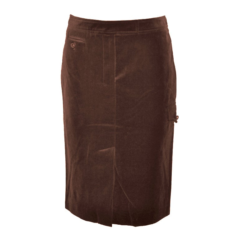 Yves Saint Laurent Rive Gauche coco brown velvet pencil skirt