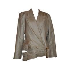 Alma Couture taupe asymmetric hemline jacket