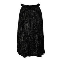 Adolfo black crush-velvet circular skirt