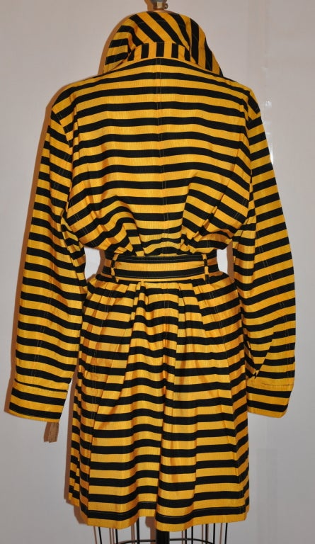 "Orange Moschino Yellow and black 'Bumble-bee"" trench For Sale"