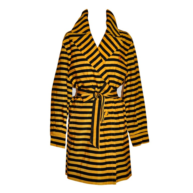 "Moschino Yellow and black 'Bumble-bee"" trench For Sale"