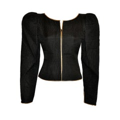 Fernando Sanchez Black quilted silk zipper jacket