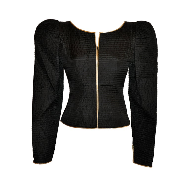 Fernando Sanchez Black quilted silk zipper jacket For Sale