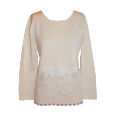 Moschino white with hand-crochet embroidery top