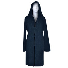 Jill Stuart midnight blue with suede ties hooded jacket