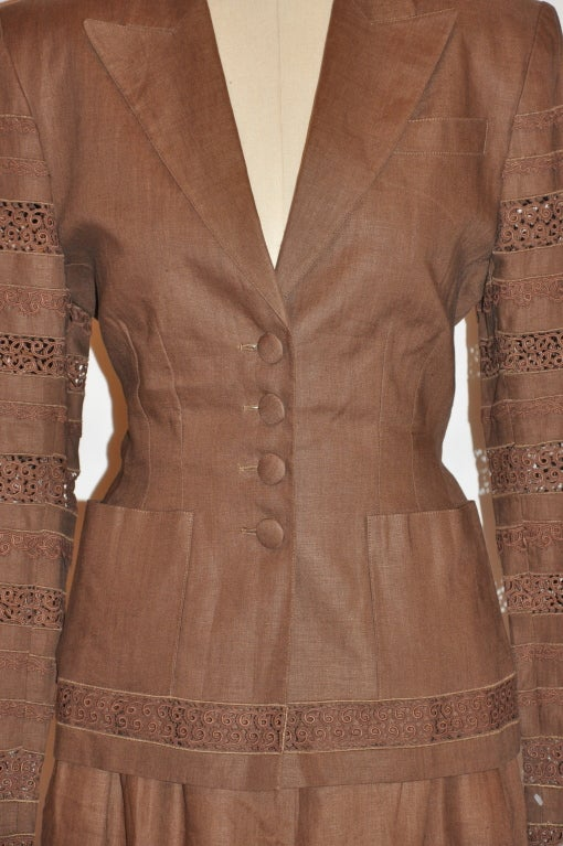 Brown Lolita Lempicka brown linen & Flax with Swiss lace ensemble For Sale