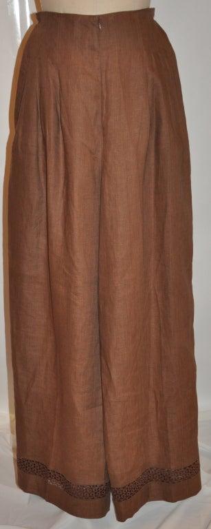 Women's Lolita Lempicka brown linen & Flax with Swiss lace ensemble For Sale