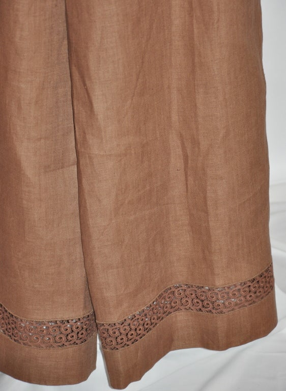 Lolita Lempicka brown linen & Flax with Swiss lace ensemble For Sale 1