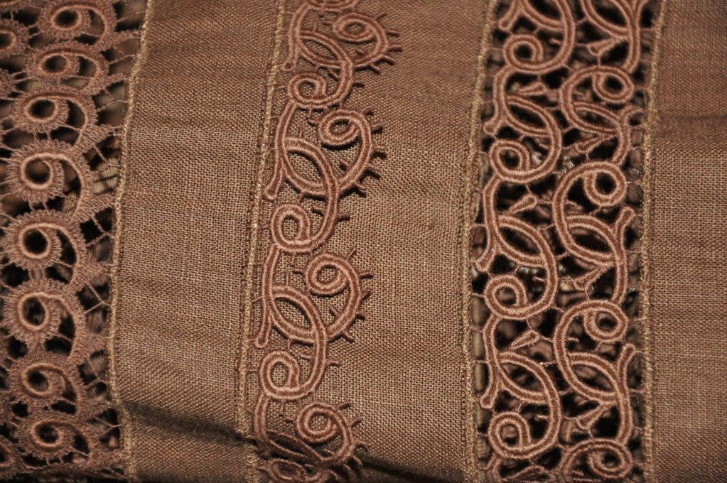 Lolita Lempicka brown linen & Flax with Swiss lace ensemble For Sale 4