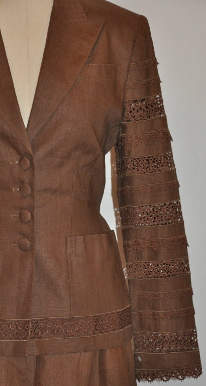 Lolita Lempicka brown linen & Flax with Swiss lace ensemble For Sale 5