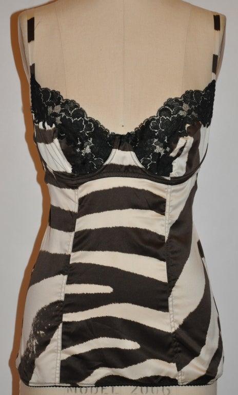 Dolce & Gabbana brown zebra-print lace bustier image 2