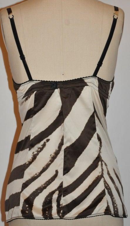 Dolce & Gabbana brown zebra-print lace bustier image 3