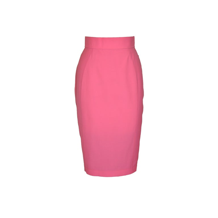 Thierry Mugler neon-pink form-fitting skirt