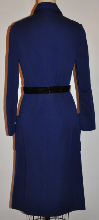 Black Norman Norell Navy knit dress with belt For Sale