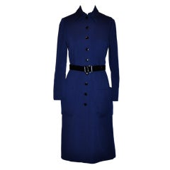 Norman Norell Navy knit dress with belt