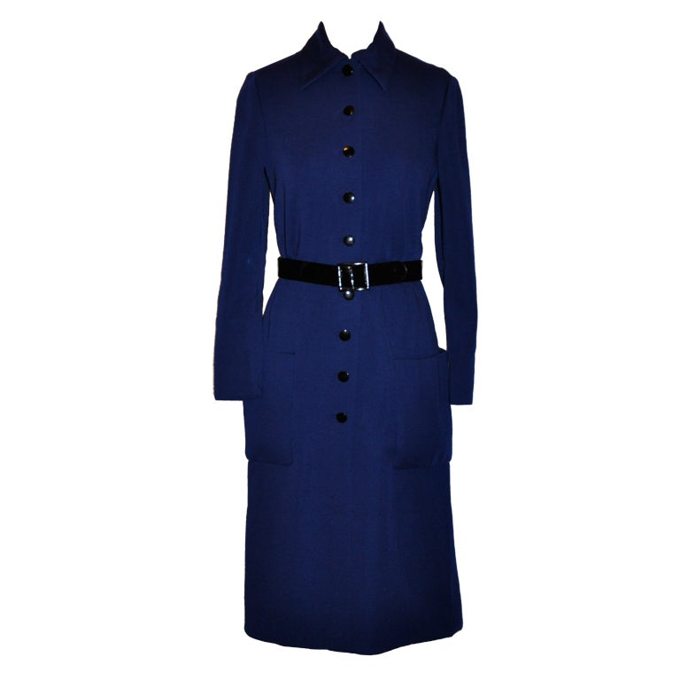 Norman Norell Navy knit dress with belt For Sale