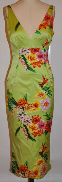 Dolce & Gabbana neon-lime floral form-fitting dress has detailed boning (13 in all) on the bodice for better fit and comfort. The invisible zipper (13