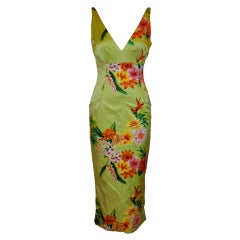 Dolce & Gabbana green floral form-fitting dress