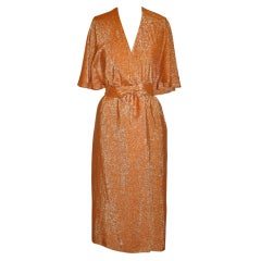 Halston Signature Iconic Tangerine Metallic Lame Backless Caped Dress