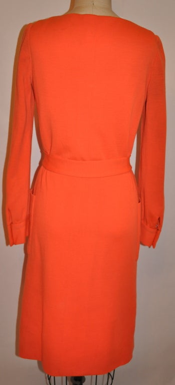 Red Iconic Norman Norell Neon Tangerine with self-tie button-front dress For Sale