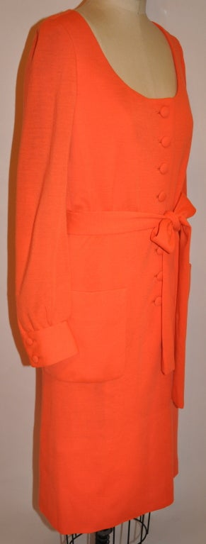 Iconic Norman Norell Neon Tangerine with self-tie button-front dress In Good Condition For Sale In New York, NY