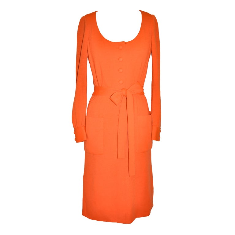 Iconic Norman Norell Neon Tangerine with self-tie button-front dress