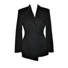 Yves Saint Laurent Rive Gauche black asymmetric tailored blazer