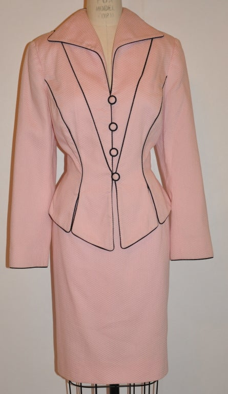 Pilar Rossi couture pink with black cotton poplin ensemble 2