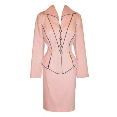 Pilar Rossi couture pink with black cotton poplin ensemble