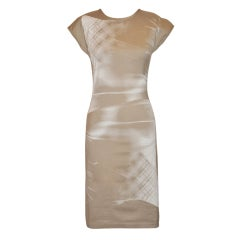 Barbara Bui Taupe silkscreen body-hugging dress