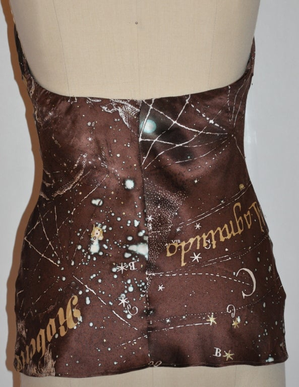"Roberto Cavalli Brown silk  ""Astrology"" print halter 4"