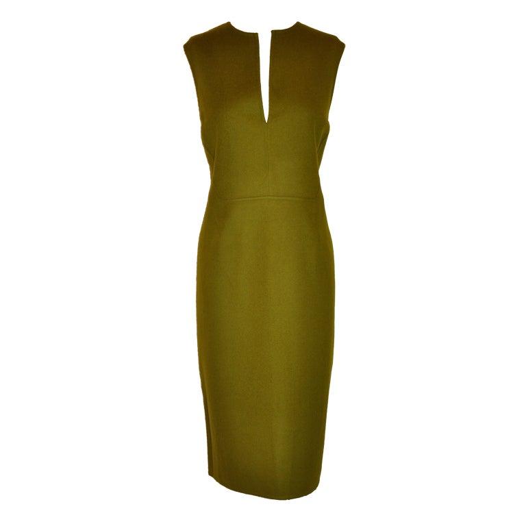 Donna Karan Olive-green cashmere shealth