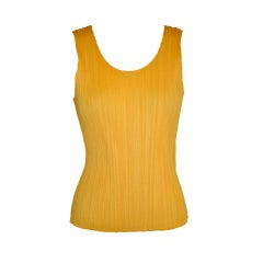 Issey Miyake taxi-yellow pleated tank