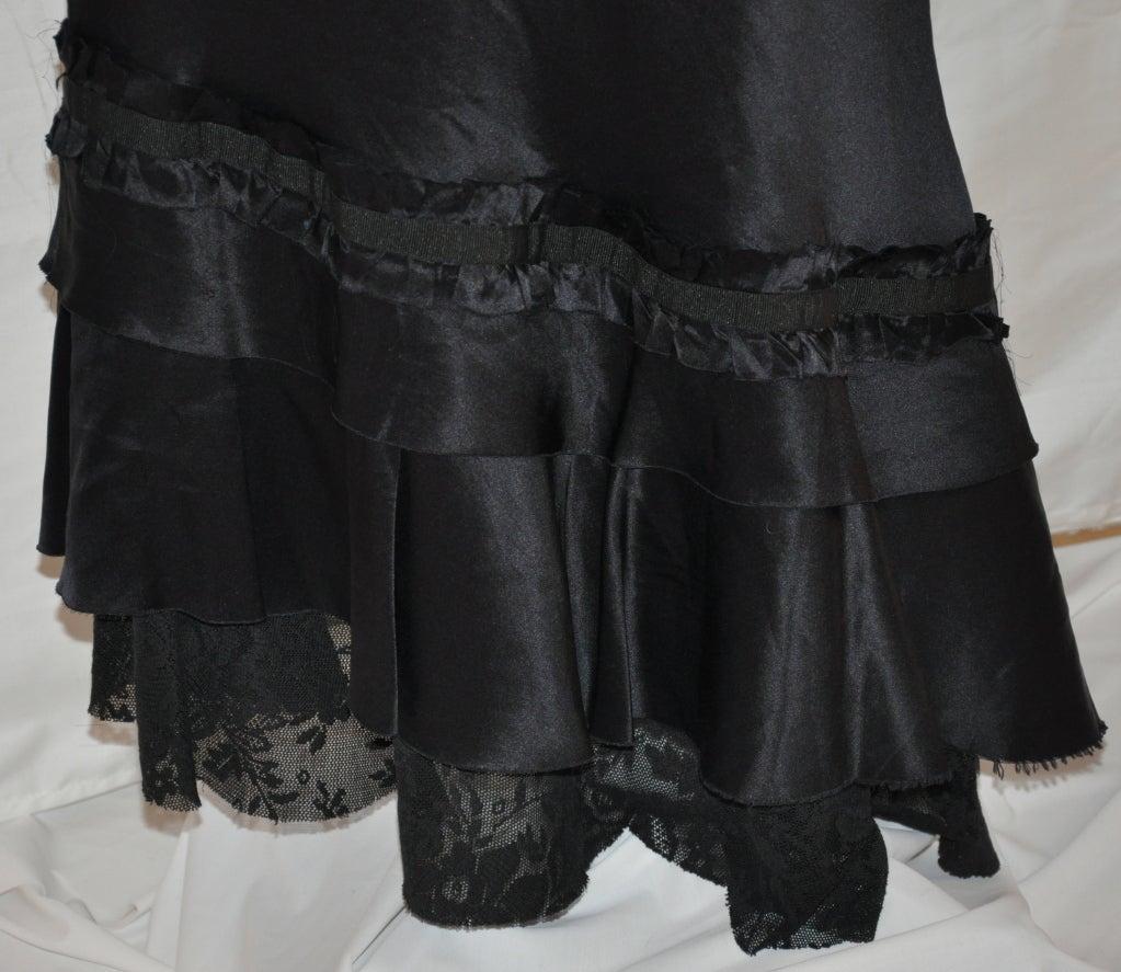 Patrizia Pepe black asymmetric silk & lace skirt 3