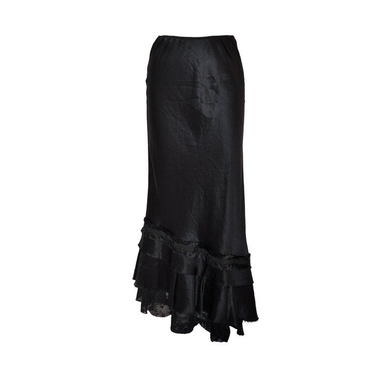 Patrizia Pepe black asymmetric silk & lace skirt 1