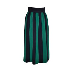 Norman Norell Navy & Green stripe skirt