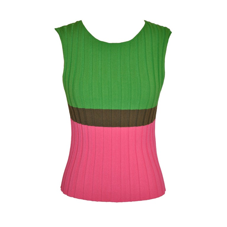 Issey Miyake pink/green/olive tank