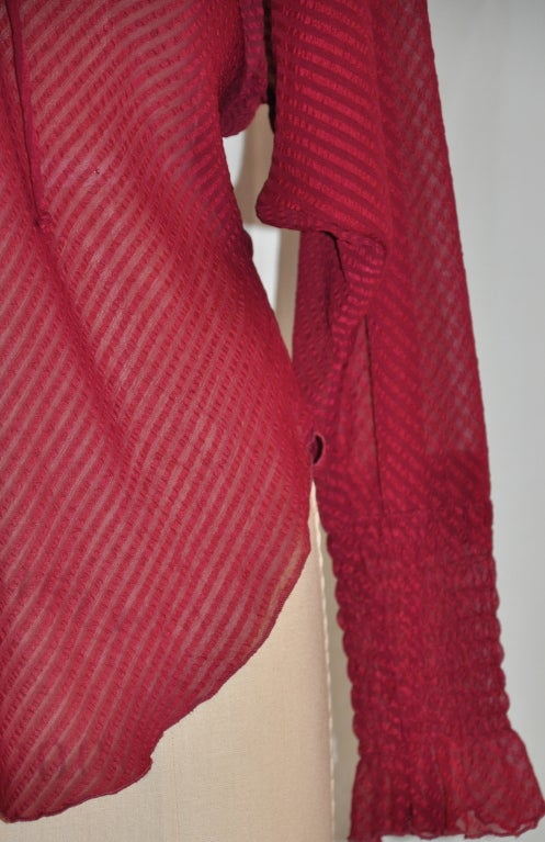 Silk chiffon tie blouse 4