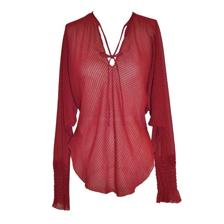 Silk chiffon tie blouse 1