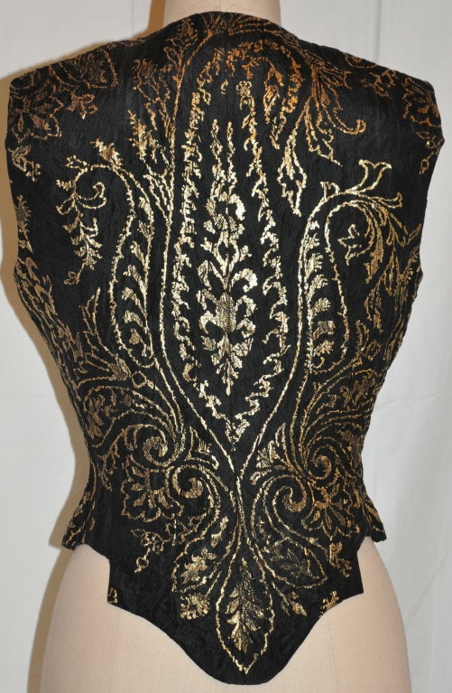 Black Carolina Herrera black with gold lame embroidered evening top For Sale
