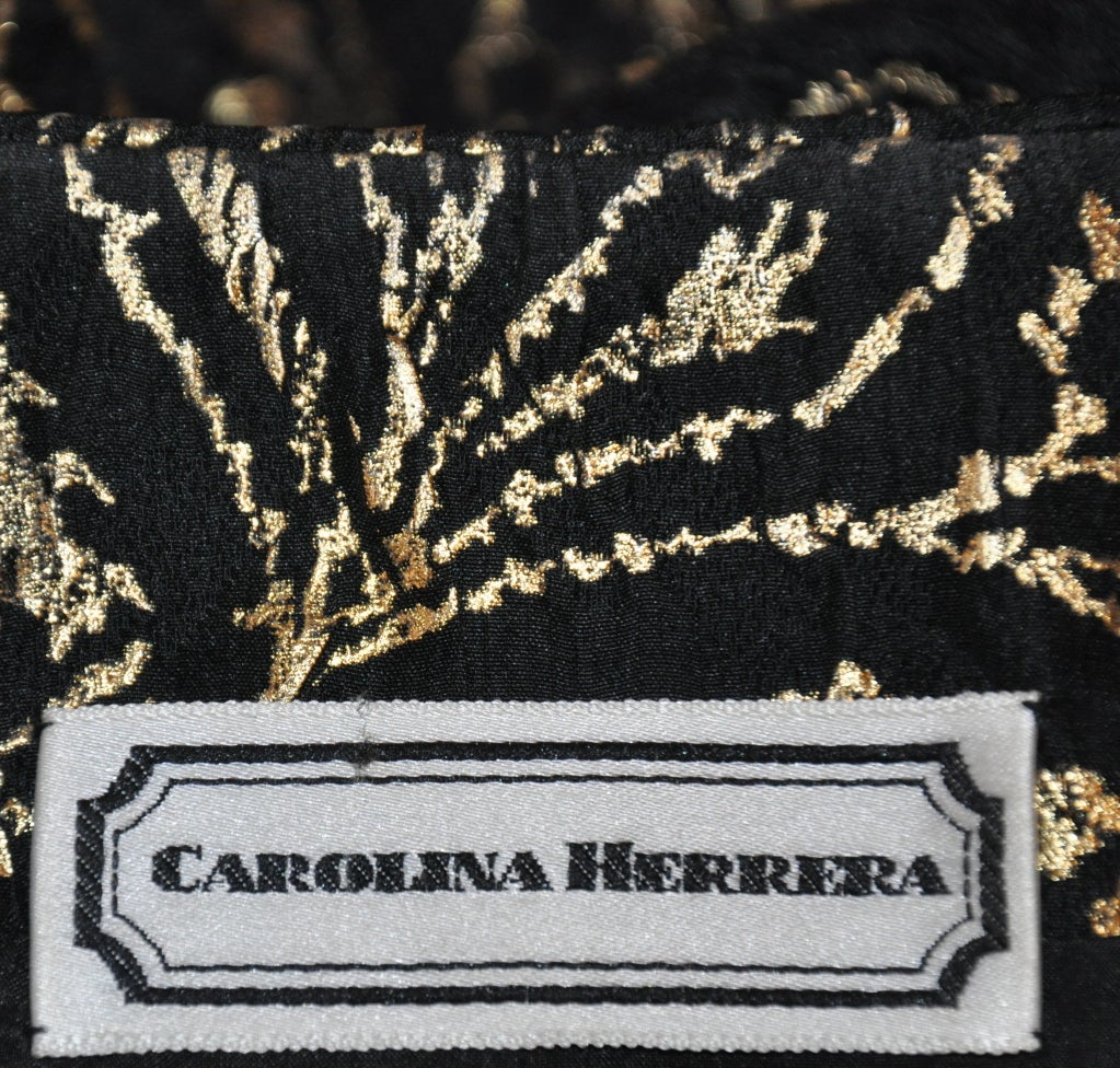 Carolina Herrera black with gold lame embroidered evening top In Excellent Condition For Sale In New York, NY