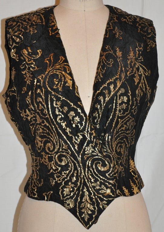 Carolina Herrera black with gold lame embroidered evening top 5