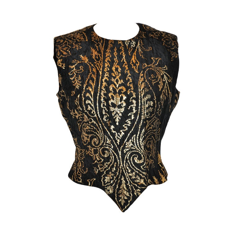 Carolina Herrera black with gold lame embroidered evening top For Sale