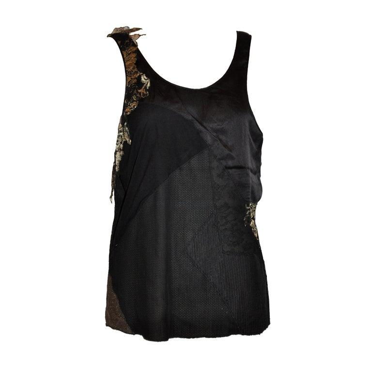 Katayone Adeli evening silk, lace and metallic patch top