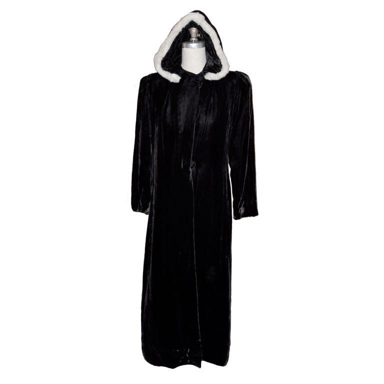 Victorian velvet with mink trim hooded evening coat For Sale