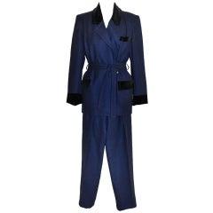 Pierre Balmain Black & Navy wrap-tie pant ensemble
