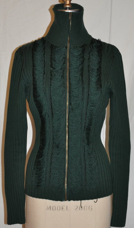 Jean Paul Gaultier forest-green zipper top measures 25
