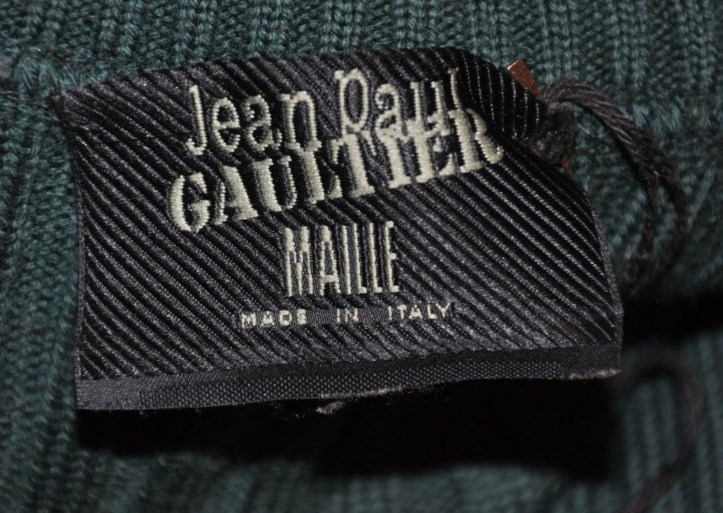 Black Jean Paul Gaultier green knit zipper jacket